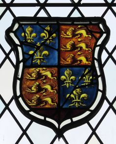 Armorial window in the Church of St. Mary, at Boyton, Wilts, England