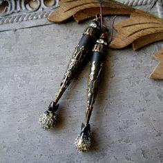 Bohemian Romance lampwork and filigree earrings by AnvilArtifacts
