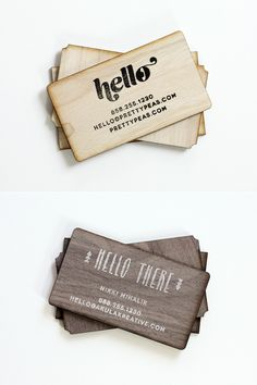 DIY stamped wood business cards + packaging