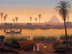 Sunset On The Nile At Giza Pyramids Ancient Egypt Egyptian Art Handmade Oil Painting On Canvas Archaeology Ancient Egypt photography Ancient Egypt Fashion, Ancient Egyptian Jewelry, Egyptian Kings, Ancient Egyptian Paintings, Ancient Egypt Art For Kids, Life In Ancient Egypt, Ancient Aliens, Ancient Greece, Ancient History