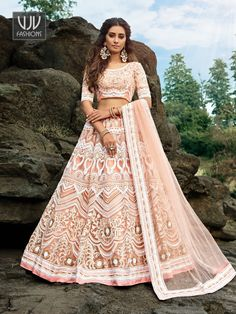 Rs7,800.00 Party Wear Lehenga, Saree Shopping, Latest Sarees, Indian Wedding Outfits, Peach Colors, Lehenga Choli, New Trends, Wedding Designs, Bridal