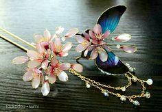 灯花堂☆ 簪・桜と青い蝶々のかんざしセット『咲舞・sakimai』髪飾り・入学式_画像2