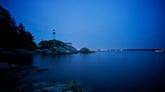 West Vancouver Point Atkinson Lighthouse Park at blue hour after sunset. Beacon Of Light, Blue Hour, Lighthouses, Vancouver, Canada, River, Sunset, Park, Outdoor