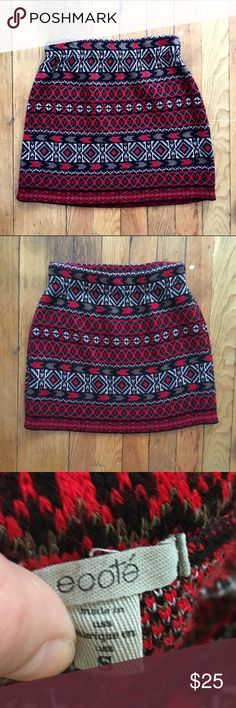 UO Ecote Red Patterned Sweater Skirt Adorable sweater skirt from Ecote (Urban Outfitters). Worn once, excellent condition! Stretchy and comfy. 100% acrylic. Urban Outfitters Skirts Mini