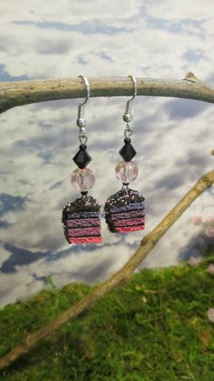 Pink and Purple Ombre Fairy Cake Earrings by dragonsdreamsdesigns, $10.00