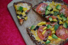Burrito meets pizza... YUM. The crust is made of black beans and sweet potatoes! (GF and vegetarian)