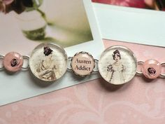 Jane Austen AUSTEN ADDICT Silver Bracelet Charm oh how I would love to have this bracelet!!!!