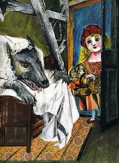 ✔️ Emanuele Luzzati, Cappuccetto Rosso ed il lupo - 1988