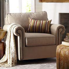 Alton Rolled Arm Swivel Glider Chair - Ecru