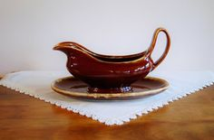 Hull Brown Drip Gravy Boat and Plate, Hull Pottery USA Mirror Brown Drip Glaze Stoneware Sauce Boat and Under Dish - SOLD! :)