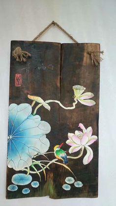 Diy Painting, Painting On Wood, Painting & Drawing, Lotus Drawing, Oil Paint On Wood, Handmade Paint, Chinese Painting, Asian Art, Diy Art