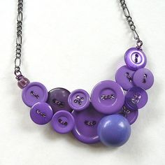 Cute button necklace by Button Soup Jewelry Wire Jewelry, Beaded Jewelry, Jewelery, Beaded Necklace, Unique Jewelry, Button Necklace, Purple Jewelry, Recycled Jewelry, Button Crafts