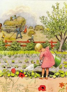A July vegetable garden (sigh!), delightful image from Swedish Illustrator, Elsa Beskow.