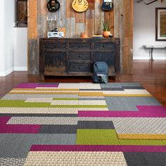 """This area rug features <a href=""""<product_id>629</product_id>"""">Made You Look</a> in Berry, Blue Jay, <a href=""""<product_id>660</product_id>"""">In The Deep</a> in Cobalt, <a href=""""<product_id>609</product_id>"""">Suit Yourself</a> in Slate, Raffia, <a href=""""<product_id>621</product_id>"""">Coming Along</a> in P..."""
