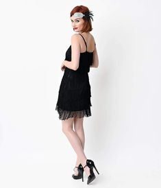 Take it back to the Roaring in the Speakeasy black tiered fringe dress with adjustable straps and show off your inner glamorous flapper. 1920s Inspired Dresses, 1920s Dress, Retro Dress, Fringe Flapper Dress, Fringe Dress, Unique Vintage, Retro Vintage, Vintage Dresses Online, Pin Up Dresses