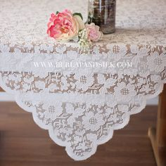 Square Lace Table Overlays 72 x 72 inches, Square Lace Tablecloth Ivory Wedding Tablecloths, Wedding Table Linens, Lace Tablecloths, Fall Wedding, Diy Wedding, Autumn Weddings, Spring Weddings, Wedding Flowers, Dream Wedding
