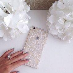 Iphone 6 Phone Case Henna White See Through Lace by StudsandSkulls Lotus Henna, Henna Mandala, Phone Cases Iphone6, Iphone Cases, Coque Iphone, Iphone 6, High Tech Gadgets, Lace Print, Camille