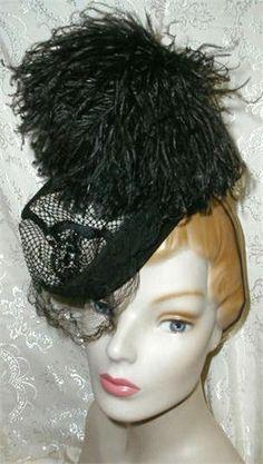 1940 Black RIDING HAT w Ostrich Plume,Veil & Jewel.  Label is Eduard, New York.