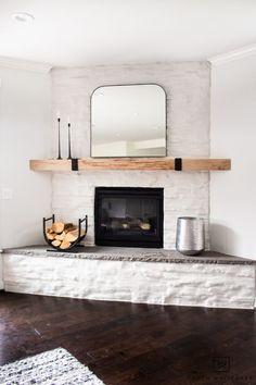 Modern Mirror for over the Mantel - Taryn Whiteaker Stone Fireplace Makeover, Modern Fireplace, Fireplace Wall, Fireplace Ideas, Modern Rustic, Mid-century Modern, Living Room Decor, Bedroom Decor, Painting Shower