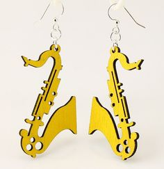 Saxophones for Ears  Laser Cut Wood Earrings by GreenTreeJewelry, $12.95