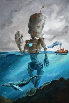 Canvas Prints by Robots in Rowboats Canvas Artwork, Canvas Frame, Canvas Art Prints, Painting Prints, Great Paintings, Original Paintings, Robot Painting, Robot Art, Robots