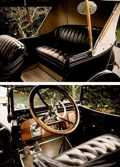 The interior of a 1916 Buick McLaughlin. The seats are fine leather furniture and the dash panel looks a yacht's instrumentation.
