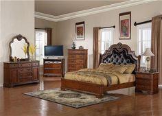 B298 Series Brown Wood Leather Marble Master Bedroom Set