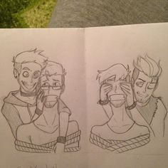 This is #antiartcontest Entry for @cartoonjunkie art contest. I uset @cartoonjunkie dissing for darkiplier and antijackseptickeye. And I sorry if it bad taken picture, I tried to take the whole picture. Partners in crime, have jack and mark under...