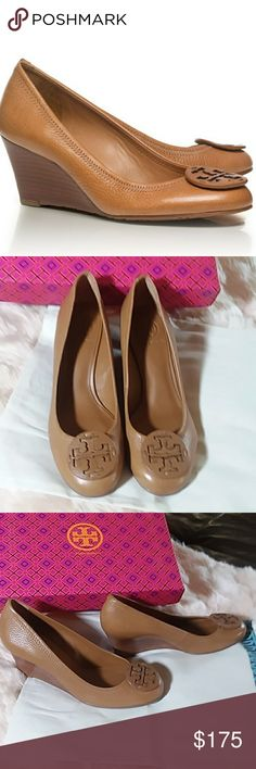Tory Burch Royal Tan Sally Wedge Shoes Size 8 You will love these amazing Tory Burch royal tan, Sally, Tumbled Leather wedge shoes. The wedge is stunning and this neutral tan leather will match practially anything. The style number is 500086858. Shoes are new, with box, and dust cloth. Shoes are size 8. Tory Burch Shoes