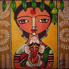 I miss living in Mumbai, the noise and chaos, the very loud and colourful presence of hindi movies, the long drives through the city in the . Ganesha Art, Lord Ganesha, Madhubani Art, Madhubani Painting, Indian Folk Art, Indian Artist, Cherokee Indian Art, Bengali Art, Ideas