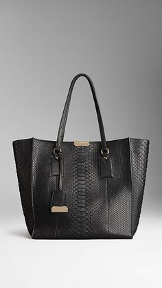 Burberry: Black, Medium Python Shoulder Tote Bag. LUSSSSTTTT.