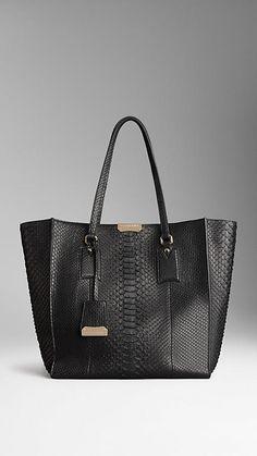 Burberry: Black, Medium Python Shoulder Tote Bag. LUSSSSTTTT.