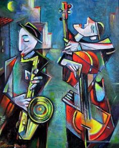 A Beautiful Jewish Art oil painting for sale of Kliezmer Duo by Israel Rubinstein. only at www.judaica-art.com