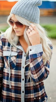 Cool Mint Beanie With Check Shirt
