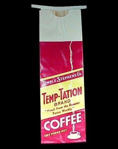 Vintage Temp-Tation Brand 1 Pound Coffee Bag. Temple Stephens Co Advertising Collectible.