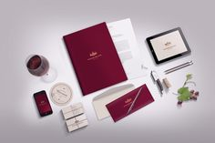Stationery / Branding mock-up  Unique mock-up fit for winery or restaurant branding presentation. Features  high-res psd file Editable via smart objects different color options for pen and pencil Transparent wine glass will go fine with any other LIGHT background Photo-realistic