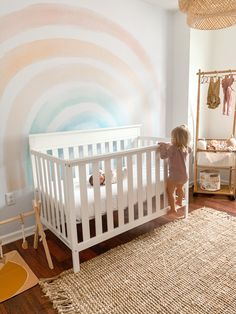 The most beautiful pastel children's wallpaper. Gender neutral and perfect for a nursery or accent wall. kids bedroom decor, children's bedroom decor, accent wall wallpaper. Nursery Themes, Nursery Room, Accent Wall Nursery, Rainbow Nursery Decor, Girl Nursery, Rainbow Girls Bedroom, Sea Nursery, Bedroom Kids, Kids Room
