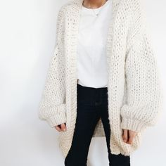 Beige Solid Collarless Open-Front Long-Sleeve Knit Cardigan - OASAP.com