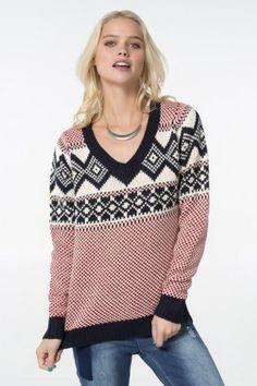 Navy, cream & red V-neck knit sweater.