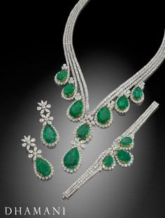 Dhamani has an extensive variety of verdant emeralds to grace your person to make you stand out from the rest.  Set collection includes necklace, earring and bracelet.