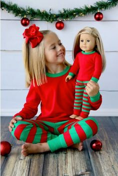 7796762fe9 Matching American Girl Doll Christmas PJs - Personalized Family Christmas  PJs for Adults