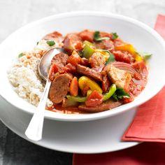 Cajun seasoning gives this Easy Chicken Jambalaya a kick of flavor! More quick and healthy chicken recipes: http://www.bhg.com/recipes/chicken/30-minutes-less/quick-heart-healthy-chicken-recipes/?socsrc=bhgpin083013jambalaya=7