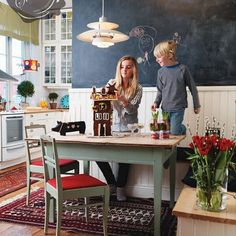 cute breakfast nook with chalkboard + wainscoting | stardust modern design.