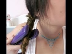 quick waves with a straightener. I would say this would only work with hair that is dry Curling Hair With Flat Iron, Curl Hair With Straightener, Flat Iron Curls, Twist Hairstyles, Curled Hairstyles, Braided Waves, Quick Curls, Beach Wave Hair, Beach Waves