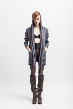 SHARON // Knitted women's cardigan - big hood hoodie - open front - raw hems - external seams - long belt - merino - EUR176.00
