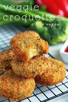 Veggie Croquettes - ilovevegan.com Can be made with sweet potato, pecans, and cranberries for Thanksgiving