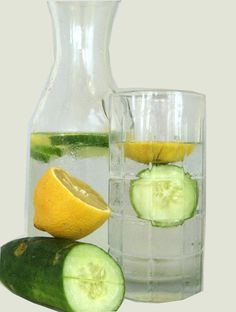 The benefits of cucumber water: 1. Hydration 2. Diuretic 3. Fiber 4. Promotes healthy skin 5. Helps fight cancer 6. Controls blood pressure 7. Aides with digestion 8. Healthy joints 9. Aides in weight loss 10. Aides the pancreas in it's production of insulin which is beneficial to diabetics Easy Recipe for Cucumber Lemon Mint Water: 1 Gallon of Water 1 Cucumber 1 Lemon 8-10 mint leaves