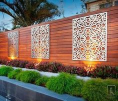 laser cut metal panels garden screeningyard designdesign - Outdoor Wall Designs