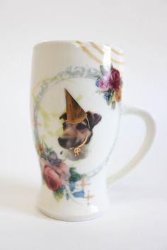 Jack Russell Terrier Party Animal Mug - Dog Pottery Roses