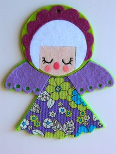 Felt and Vintage Fabric Christmas Angel Hanging by aliceapple, £6.00